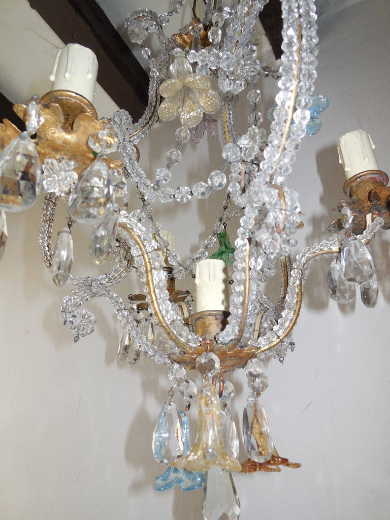 beaded murano flowers colored chandelier