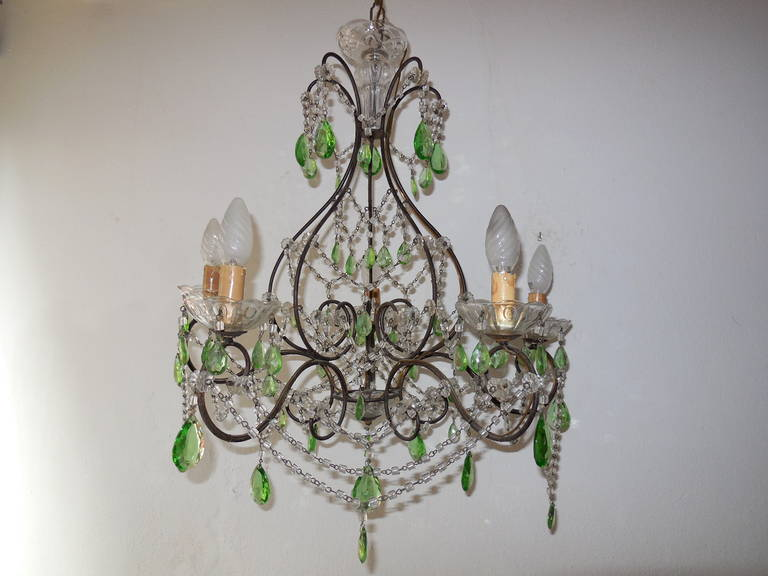 Huge Green Prism, Crystal Swags Chandelier at 1stdibs