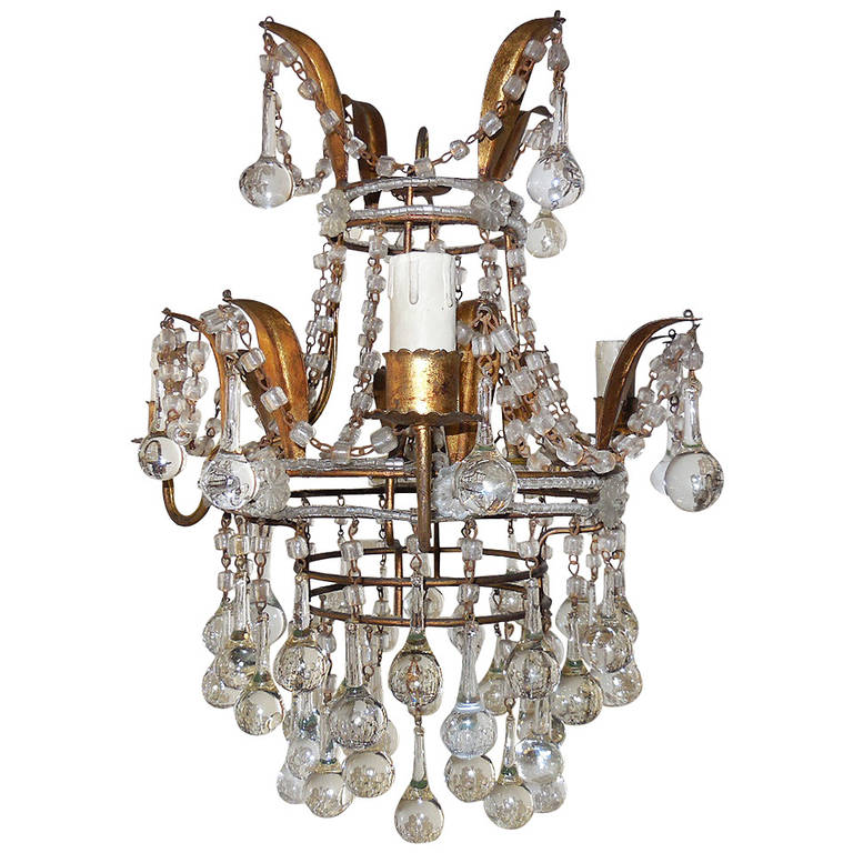 Italian Beaded with Murano Drops Tole Crown Chandelier