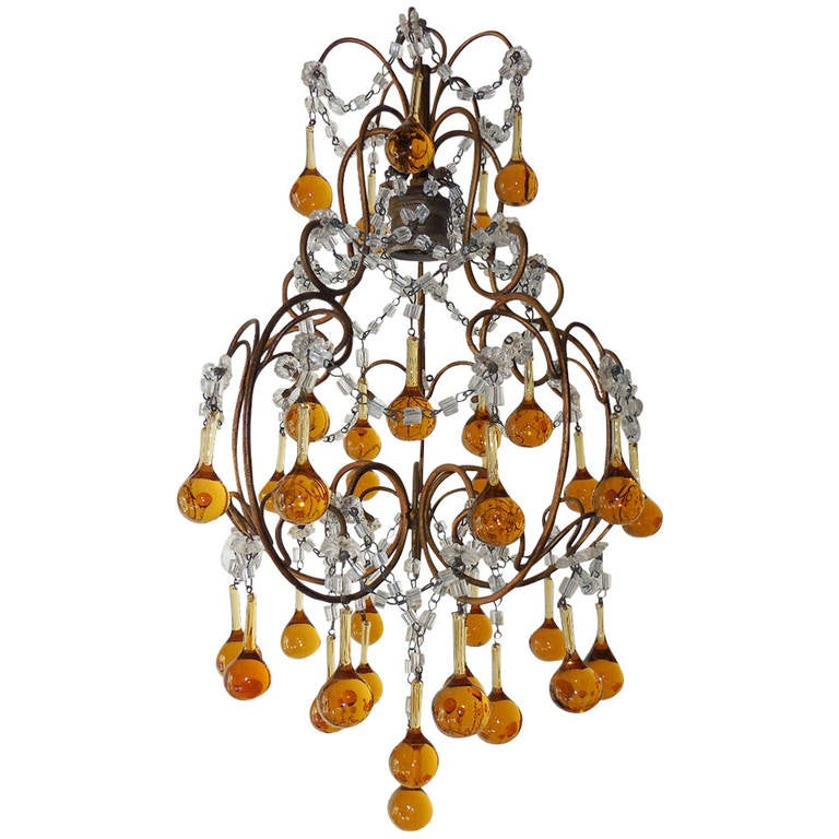 ccef26662c French Petit Amber and Yellow Crystal Beads Chandelier