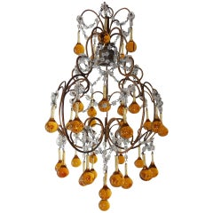 French Petit Amber and Yellow Crystal Beads Chandelier