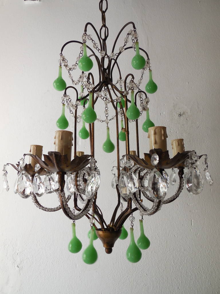 French Tole Green, Opaline Drops Crystal Beaded Chandelier ...