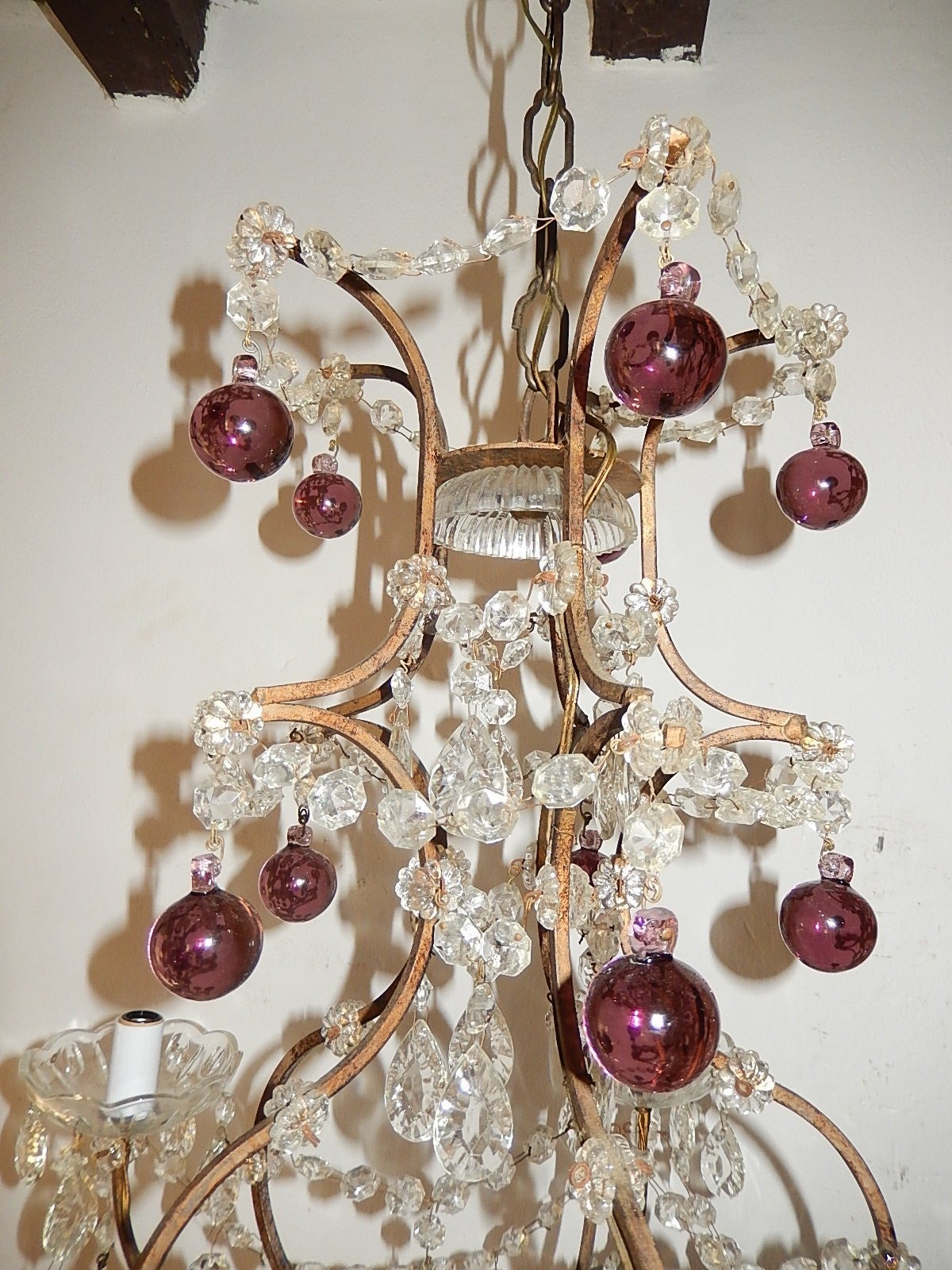 Early 20th Century French Amethyst Balls Clear Prisms Chandelier For Sale