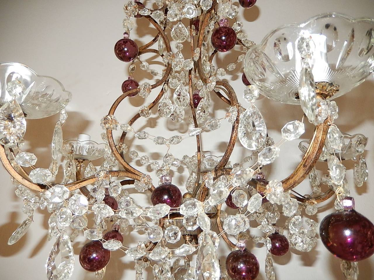Crystal French Amethyst Balls Clear Prisms Chandelier For Sale