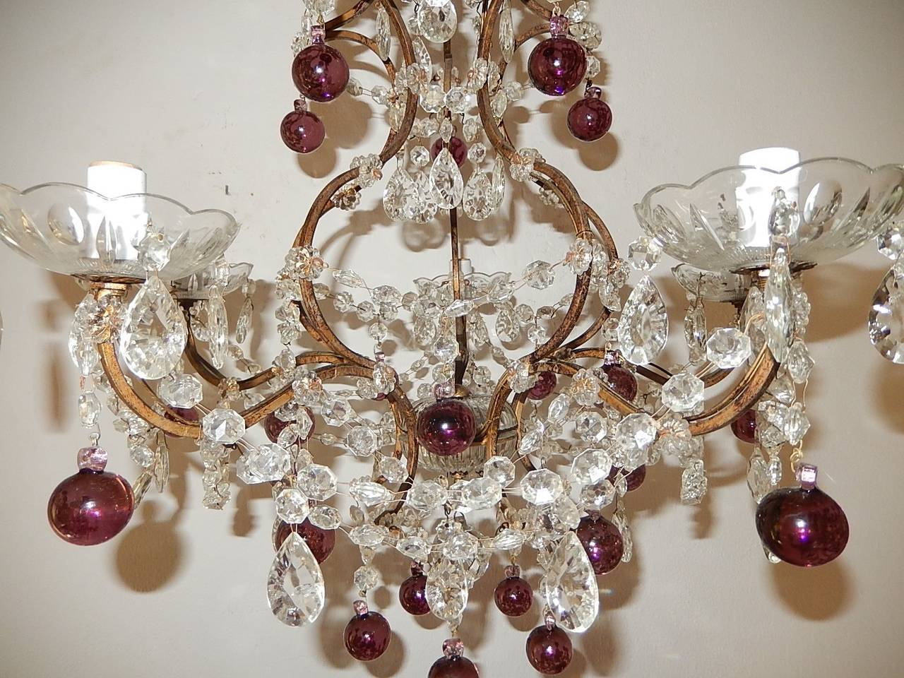 French Amethyst Balls Clear Prisms Chandelier For Sale 1
