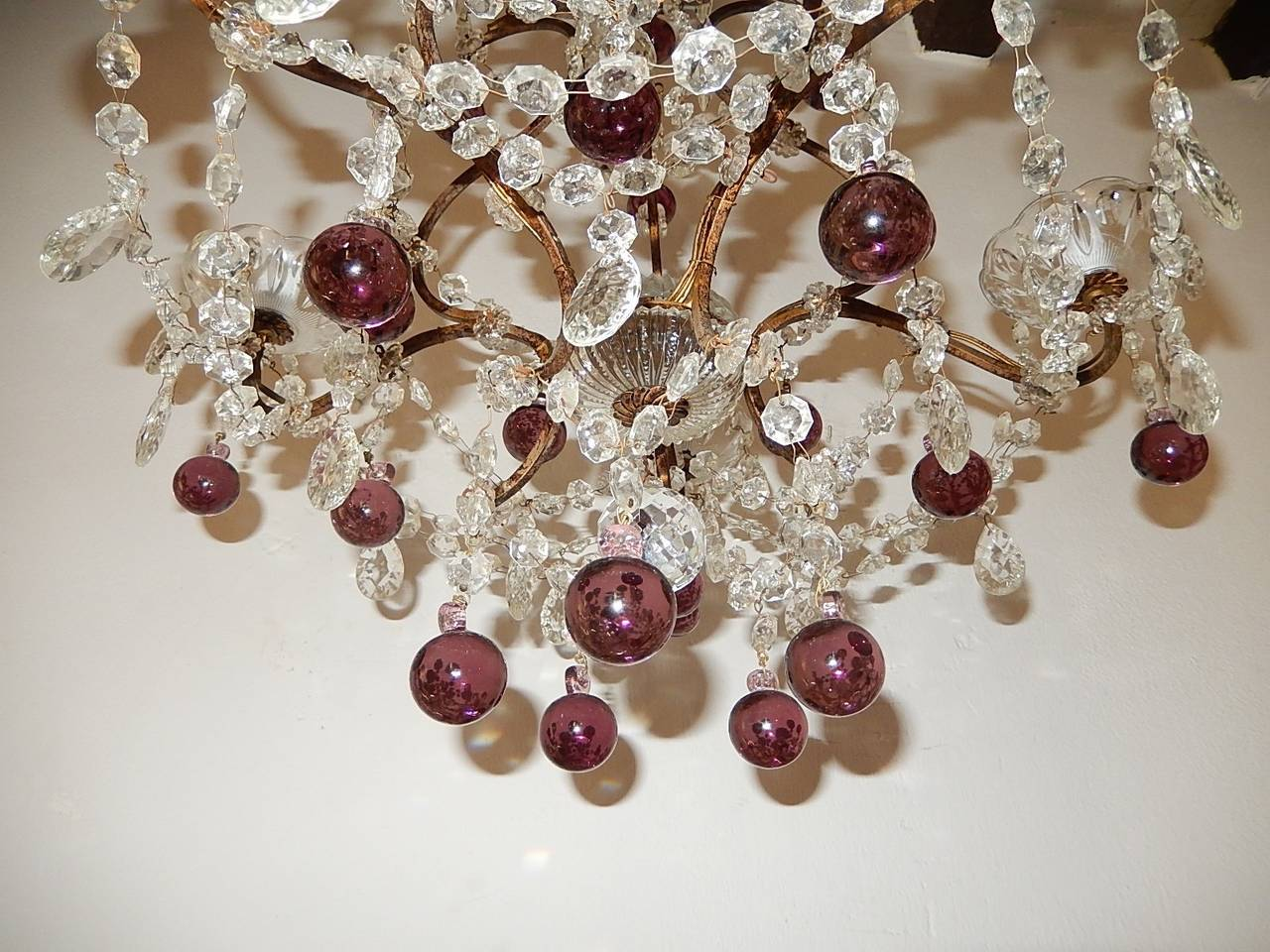 French Amethyst Balls Clear Prisms Chandelier For Sale 2