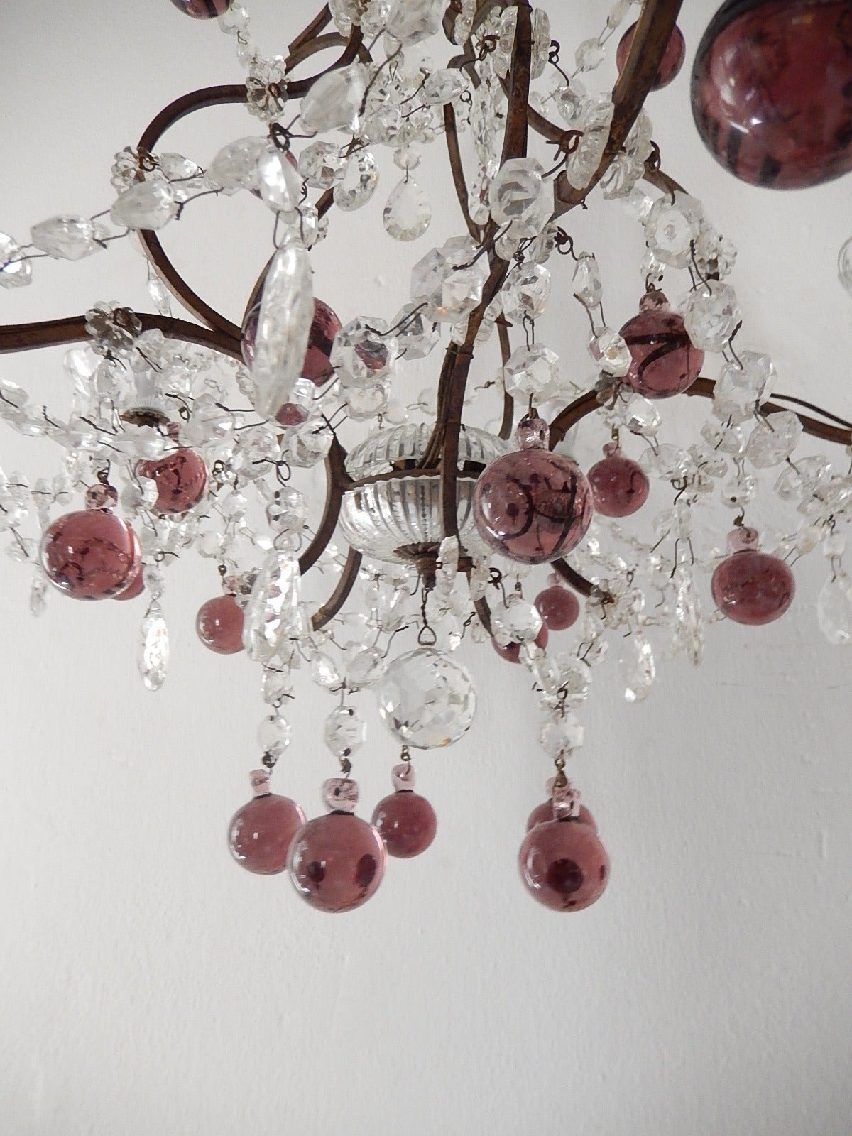 French Amethyst Balls Clear Prisms Chandelier For Sale 3
