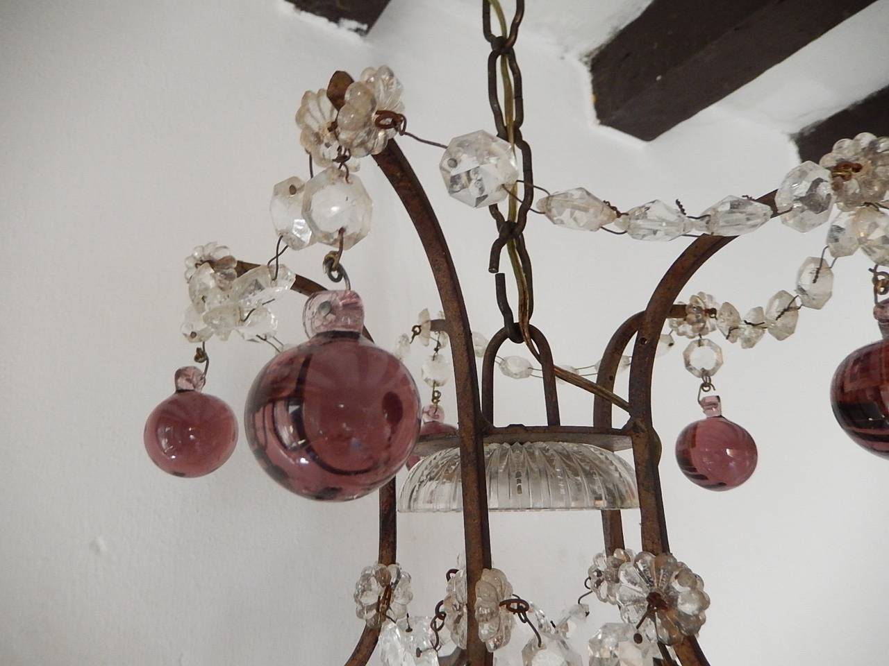 French Amethyst Balls Clear Prisms Chandelier For Sale 4
