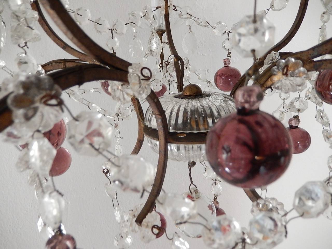 French Amethyst Balls Clear Prisms Chandelier For Sale 5