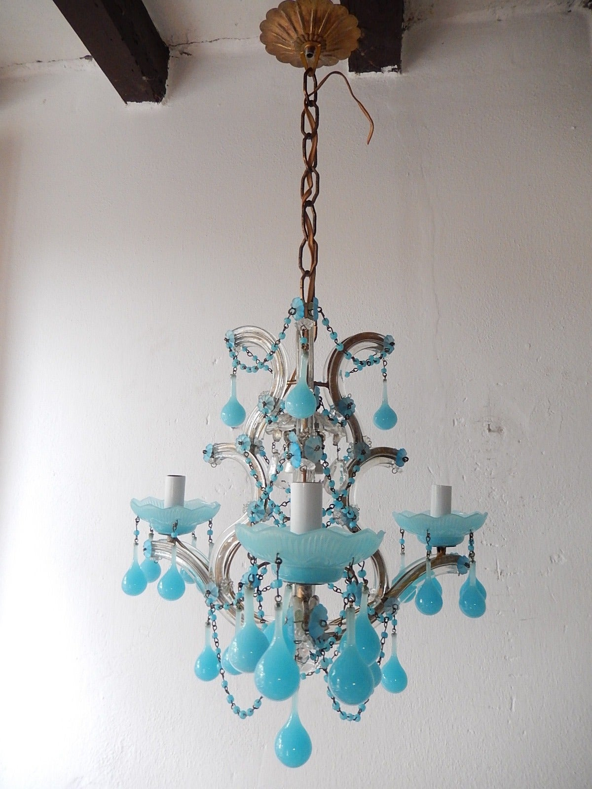 French Aqua Opaline Beaded Swags Chandelier at 1stdibs