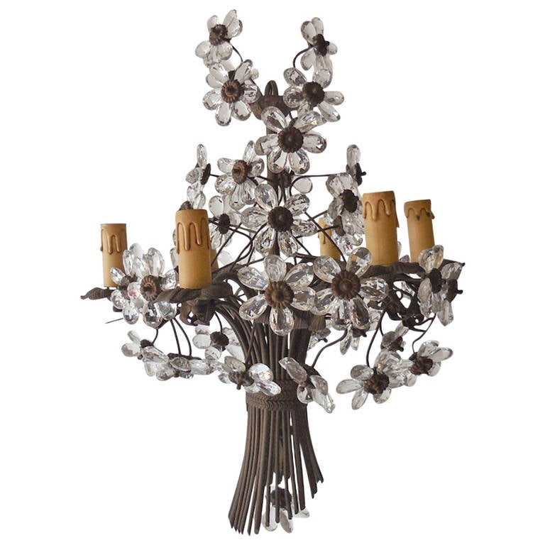 French Bagues Crystal Prisms Flowers Bronze Chandelier, circa 1920
