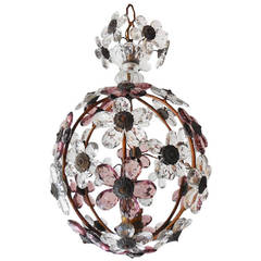 French Bagues Purple Amethyst, Crystal Prisms Flowers Ball Chandelier