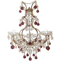 French Amethyst Balls Clear Prisms Chandelier