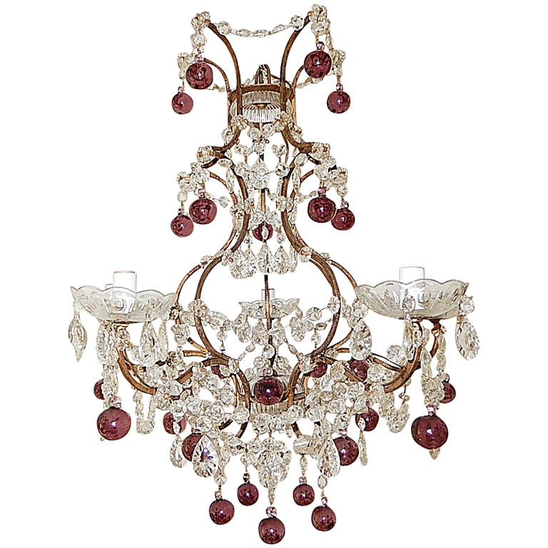French Amethyst Balls Clear Prisms Chandelier For Sale