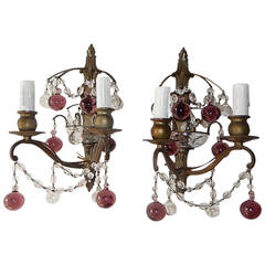 French Bronze Amethyst Murano Glass Balls Sconces