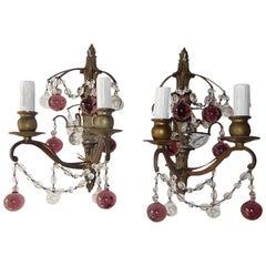 French Bronze Amethyst Murano Glass Balls Sconces