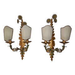 Maison Bagues Crystal Ball Tole Floral Sconces
