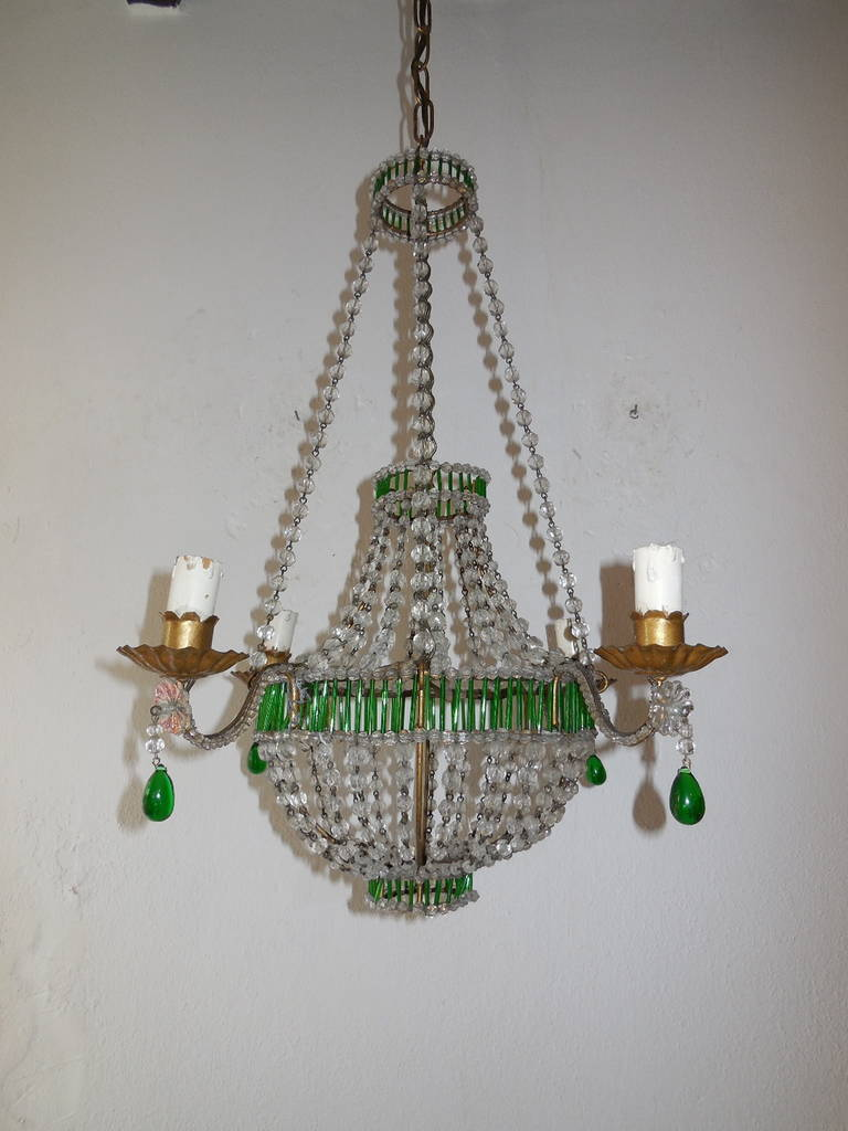 Petite French Crystal, Beaded Glass Tubes Green Chandelier ...