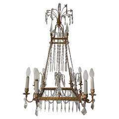 19th Century French Neoclassical Crystal and Bronze Chandelier with Spears