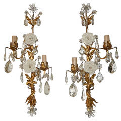 Maison Bagues Style Crystal Flower Tole Sconces