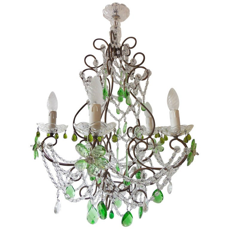 French Green, Crystal Flowers and Swags Chandelier at 1stdibs