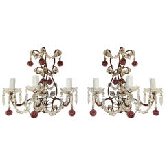 French Crystal Swags Murano Amethyst Ball Crystal Sconces