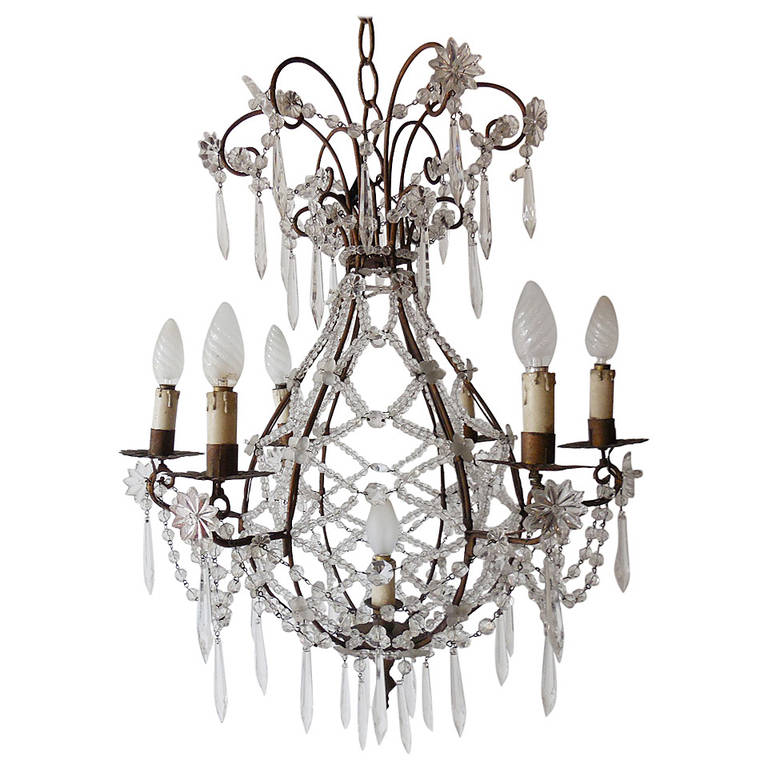 French Beaded Balloon Crystal Chandelier, circa 1940