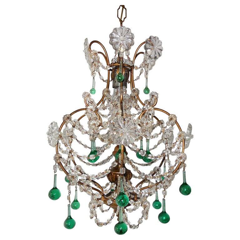 French sea foam green crystal wood chandelier circa 1930 for sale french sea foam green crystal wood chandelier circa 1930 for sale aloadofball Images
