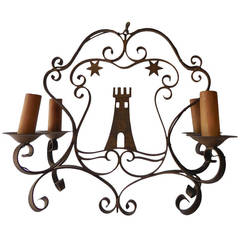 "Italian Wrought Iron ""San Marino"" Tower Chandelier, circa 1880"