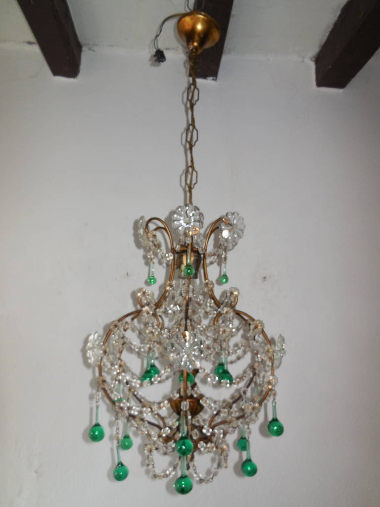 French sea foam green crystal wood chandelier circa 1930 for sale housing 1 light adorning 21 murano sea foam green drops huge crystal flowers and arubaitofo Image collections