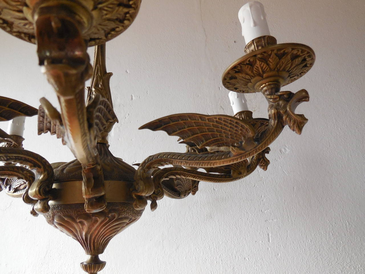 c 1950 Bronze Winged Dragon 8 light Italian Chandelier For
