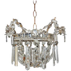 c 1940 French Mirror Crystal Prisms Dome Chandelier