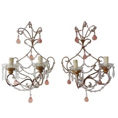 Pink Murano Drops Beaded Swags Sconces
