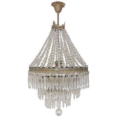 Huge French Oval Crystal Prisms Tiered Chandelier