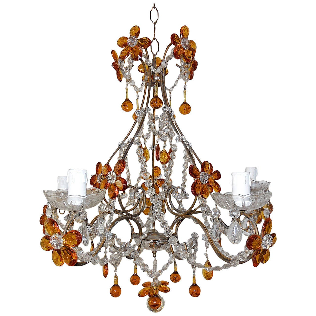 French amber balls crystal prisms flowers chandelier at 1stdibs french amber balls crystal prisms flowers chandelier for sale aloadofball Image collections