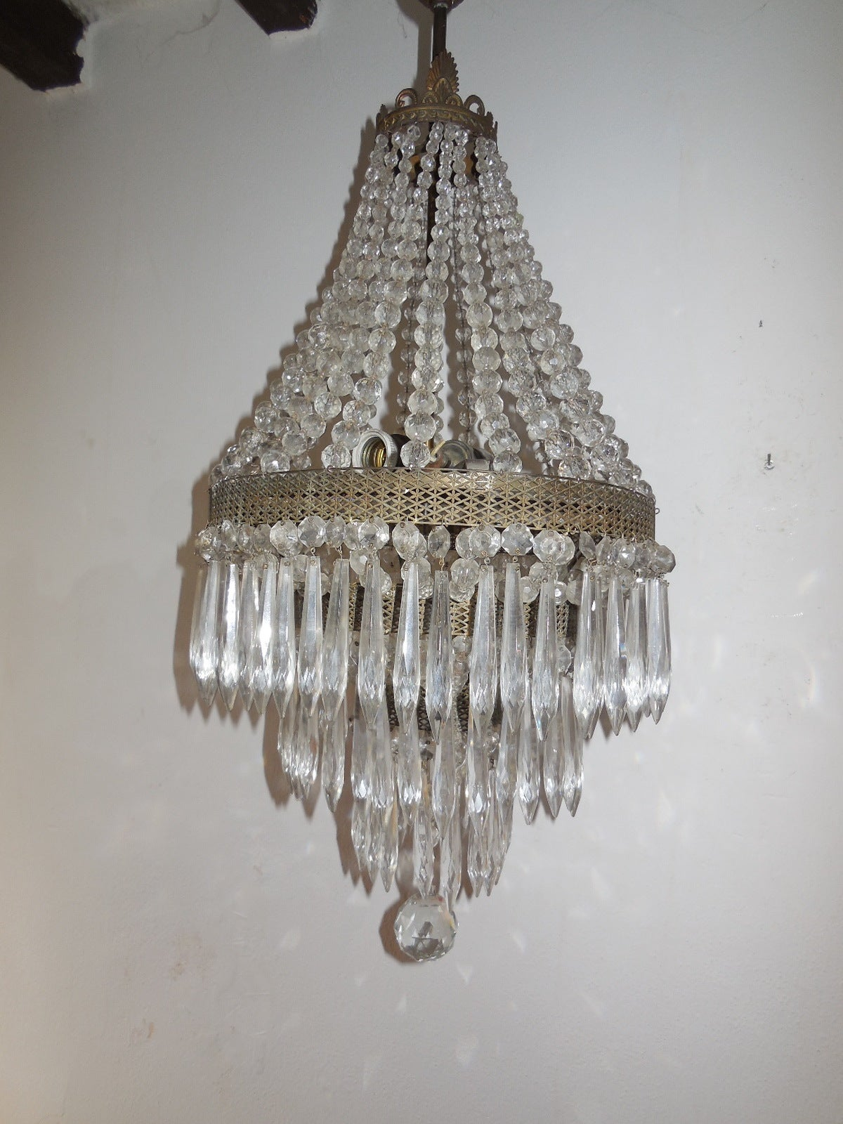 Huge French Oval Crystal Prisms Tiered Chandelier For Sale At 1stdibs