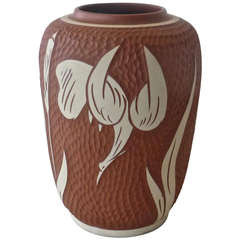 Hand Thrown Signed Vase with Heron Decor Vase for Sawa,1959