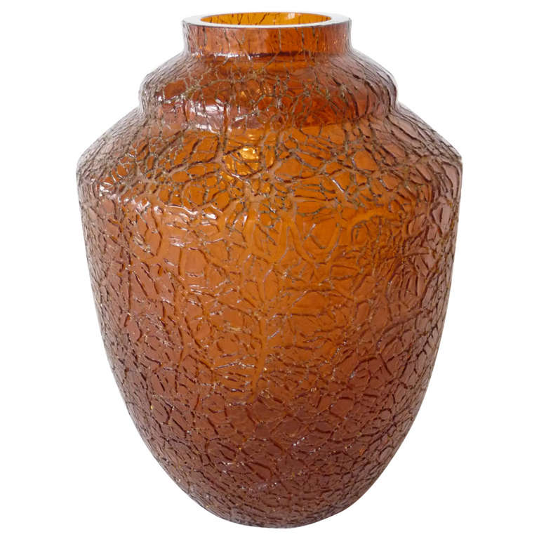 cracquele deco glass vase for sale at 1stdibs