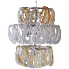 Vistosi Murano Glass and Metal Chandelier Angelo Mangiarotti