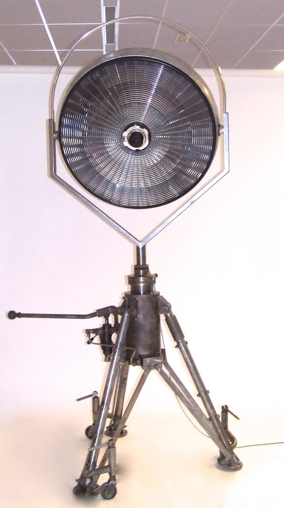 Huge Floorlamp With Vintage Surgery Light On Aviation Jack