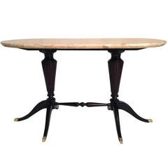 Early Italian Design Paolo Buffa Low Table with Marble Top for Fratelli Cassina