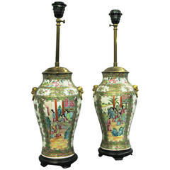 Pair of 19th Century Canton Vases as Lamp Bases