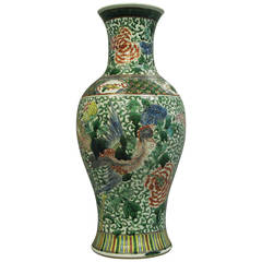 19th Century Large Famille Verte Green Vase with Flowers and Mythical Birds