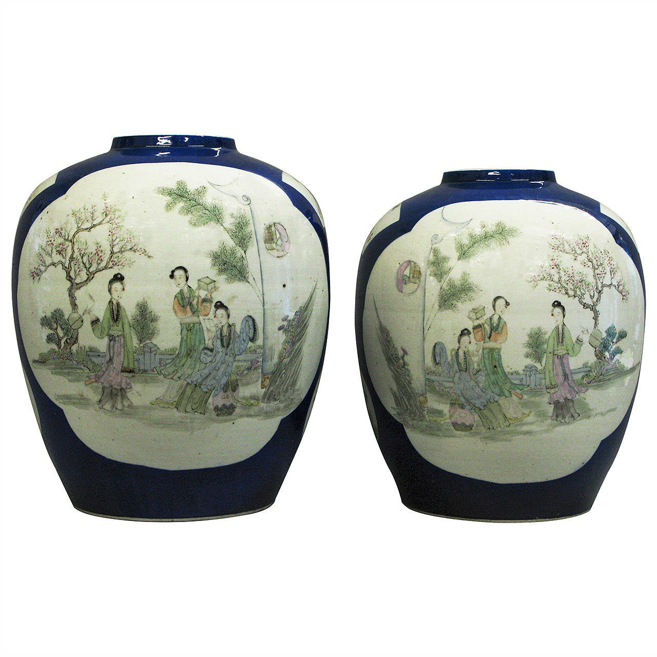 Pair of 19th Century Porcelain Jar Vases 1