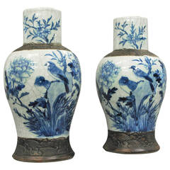 Pair of 19th Century Crackleware Vases