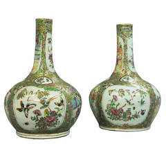 Pair of 19th Century Canton Bottle Vases