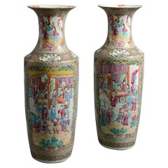 Large Pair of 19th Century Canton Porcelain Vases