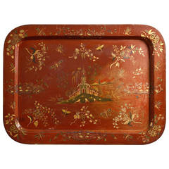 Regency Period Red Japanned and Gilded Tray