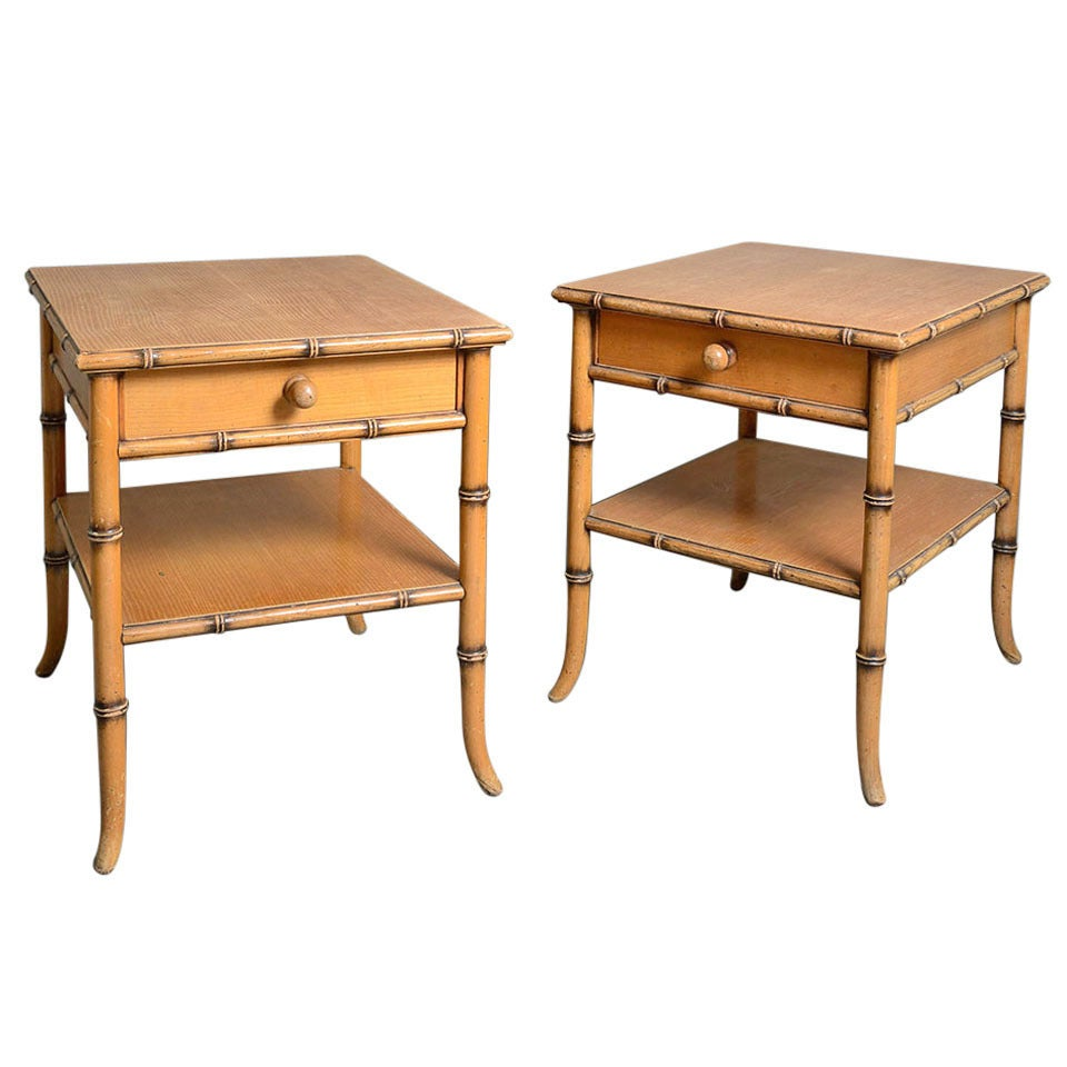 Superb Pair Of Faux Bamboo Bedside Tables 1