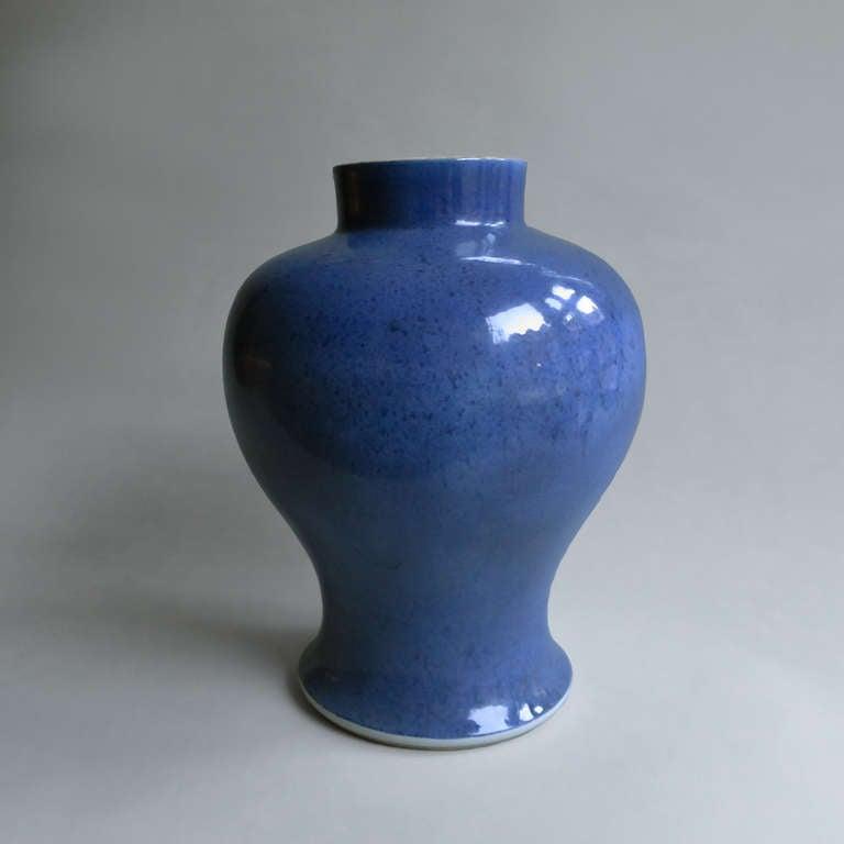 A Nineteenth Century baluster form vase, having a mottled glaze.
